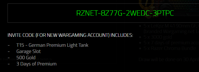 Bonus Codes Home News WarGaming news World of Tanks devs diaries World of Tanks news Ok, it's a Gamescom preview with a lot of codes for rental tanks (16 tanks). Rules: you can redeem only one code and use the redeemed tank only for 5 battles.